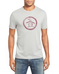 Original Penguin | Gray 'circle Logo' Slim Fit Graphic T-shirt for Men | Lyst