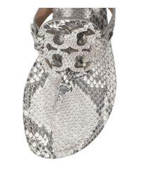 Tory Burch Gray Miller Snake-Print Sandal