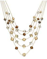 INC International Concepts | Metallic Gold-tone Bronze Bead Illusion Necklace | Lyst
