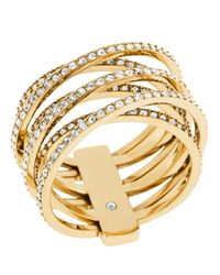 Michael Kors - Metallic Pave Criss Cross Ring - Lyst