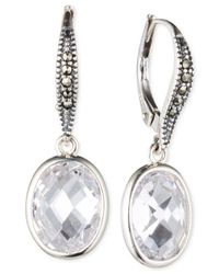 Judith Jack - Metallic Sterling Silver Marcasite And Cubic Zirconia Drop Earrings - Lyst