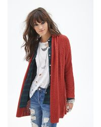 Forever 21 - Red Oversized Shawl Cardigan - Lyst