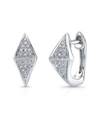Anne Sisteron | 14kt White Gold Diamond Double Triangle Huggie Earrings | Lyst