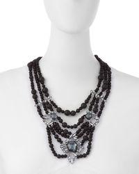 Alexis Bittar - Black Tiered Onyx Bib Necklace W/ Rhinestones - Lyst