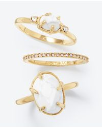 Ann Taylor | Metallic Howlite Stackable Ring Set | Lyst