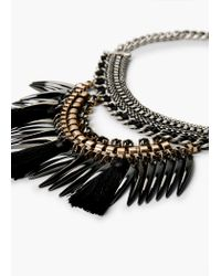 Mango - Black Pendant Chain Necklace - Lyst
