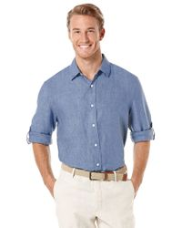 Perry Ellis | Blue Linen Roll-sleeve Sportshirt for Men | Lyst