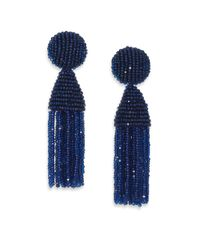 Oscar de la Renta | Blue Beaded Short Tassel Earrings | Lyst