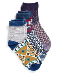 Free People - Blue 'paradise Cove' Ankle Socks - Lyst