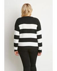 Forever 21 - Black Plus Size Stripe Mixed Knit Sweater - Lyst