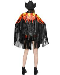 Maria Escoté - Black Fire Patches Fringed Leather Moto Jacket - Lyst