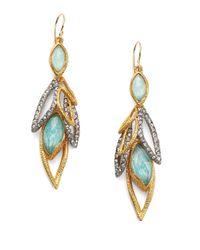 Alexis Bittar - Metallic Elements Gilded Muse D'Ore Amazonite & Crystal Dangling Leaf Drop Earrings - Lyst