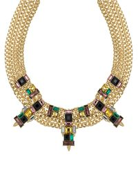 Sam Edelman | Multicolor Faceted Stone Multi-chain Collar Necklace | Lyst
