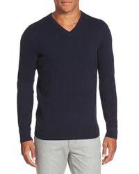 Vince - Blue Trim Fit Cashmere V-neck Sweater for Men - Lyst