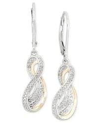 Macy's - Metallic Diamond (1/10 Ct. T.w.) Squiggle Drop Earrings In 14k Gold And Sterling Silver - Lyst