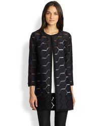 MILLY | Black Geo Cocktail Coat | Lyst