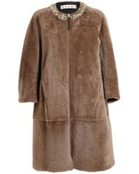 Marni - Brown Embellished Leather Lined Shearling Coat - Lyst