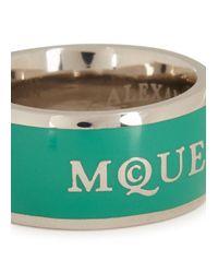 Alexander McQueen - Metallic Silver Plated Enamel Ring - Lyst