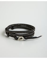 Chan Luu - Black Leather and Sterling Silver Bead Wrap Bracelet for Men - Lyst