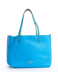 Valentino - Green Blue Pebbled Leather Small Reversible 'Rockstud' Tote - Lyst
