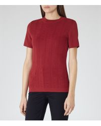 Reiss - Red Megan Knitted Top - Lyst
