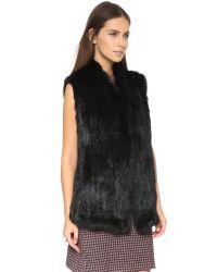 June - Fur Vest - Black - Lyst