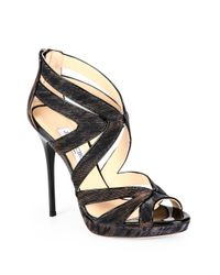 Jimmy Choo Black Collar Shiny LamÉ Platform Sandals