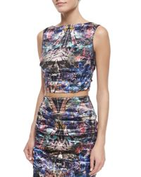 Nicole Miller - Multicolor Sleeveless Floral-print Crop Top - Lyst