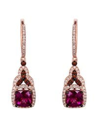 Le Vian | Pink 14 Kt. Strawberry Gold Rhodolite Diamond Drop Earrings | Lyst