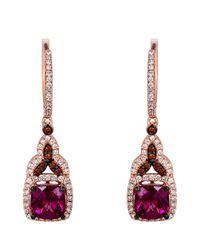 Le Vian - Pink 14 Kt. Strawberry Gold Rhodolite Diamond Drop Earrings - Lyst