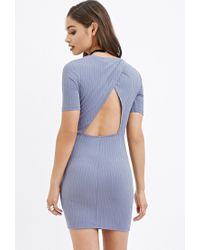 Forever 21   Blue Cutout-back Ribbed Dress   Lyst