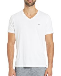 True Religion - White Cotton V-neck Tee for Men - Lyst