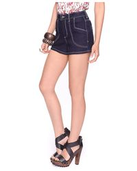Forever 21 | Blue Contrast Stitch High Waist Denim Short | Lyst