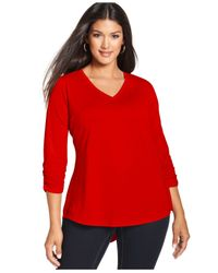 Style & Co. | Red Style&co. Plus Size Three-quarter-sleeve V-neck Tee | Lyst