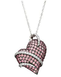 Arabella | Metallic Pink Swarovski Zirconia Heart Pendant | Lyst