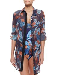 We Are Handsome - Blue Sheer Printed Coverup Blouse - Lyst
