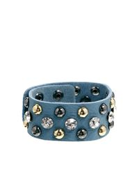 Orelia | Blue Embellished Leather Cuff Bracelet | Lyst
