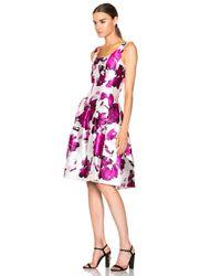 Oscar de la Renta - Pink Pleated Floral-print Silk Dress - Lyst