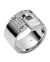 Michael Kors | Metallic Silvertone Pave Padlock Ring | Lyst