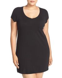 DKNY | Black 'city Essentials' V-neck Sleep Shirt | Lyst