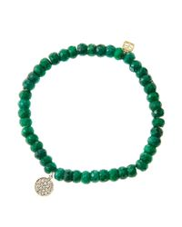 Sydney Evan | Green 6Mm Faceted Emerald Beaded Bracelet With Mini Yellow Gold Pave Diamond Disc Charm (Made To Order) | Lyst