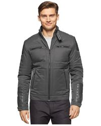 Calvin Klein | Gray Full-zip Motorcycle Jacket for Men | Lyst