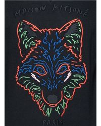 Maison Kitsuné - Black Fox Head Embroidery Sweatshirt for Men - Lyst