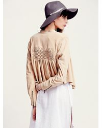 Free People | Brown Fp New Romantics Smocked Suede Jacket | Lyst