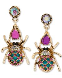 Betsey Johnson | Metallic Gold-tone Spider Mismatch Drop Earrings | Lyst