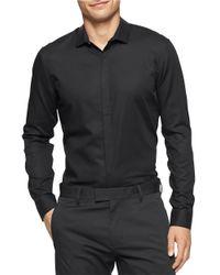Calvin Klein | Black Solid Cotton Sportshirt for Men | Lyst