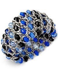 Style & Co. | Silver-tone Blue Bead Woven Chain Bracelet | Lyst