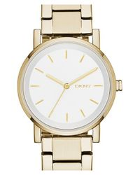 DKNY - Metallic 'soho' Round Watch - Lyst