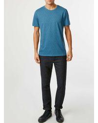 TOPMAN - Blue Teal Cube Print T-shirt for Men - Lyst