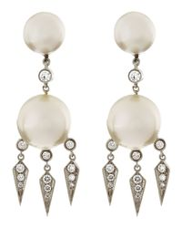 Assael - 18k White Gold Diamond South Sea Pearl Earrings - Lyst